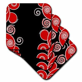 中古 輸入品 未使用未開封 set-of-8-Soft - 3dRose cst_110681_2 Black Swirls-Soft 8 of Set ギフト プレゼント ご褒美 Red Coasters with 高級な