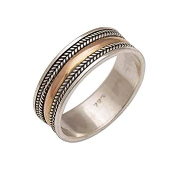 中古 輸入品 新作からSALEアイテム等お得な商品満載 未使用未開封 NOVICA No Stone イエローゴールド 'Way Gold' Band of 物品 Ring Sterling