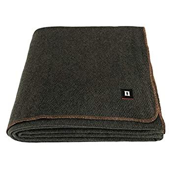中古 SALENEW大人気! 輸入品日本向け EKTOS ウール100%ブランケット 洗濯可能 オリーブグリーン 市販 5ポンド ツインサイズ 66インチx90インチ