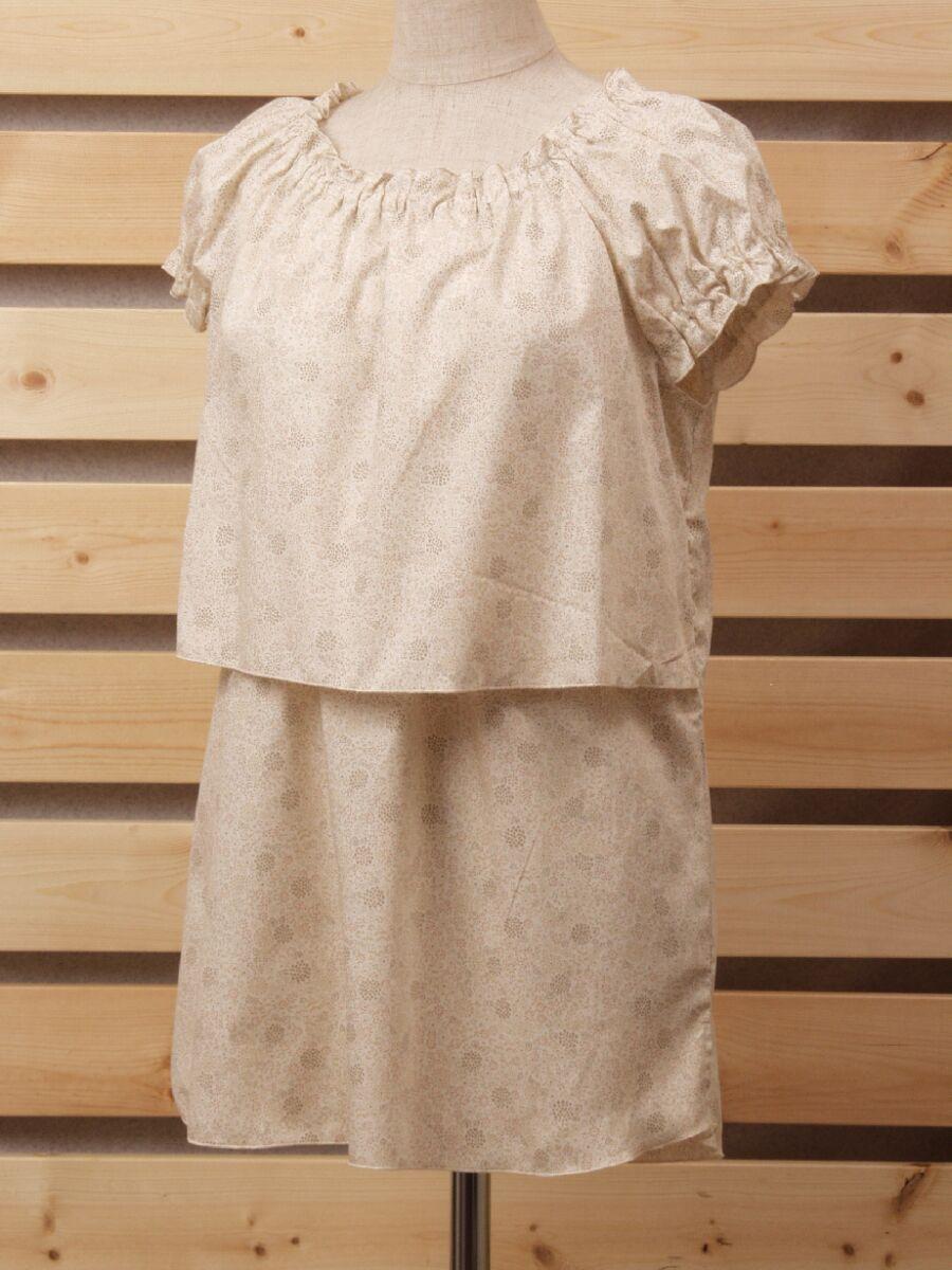 綿素材 新作通販 ナチュラルフレンチパフスリーブチュニック授乳服 本物◆ 小花柄