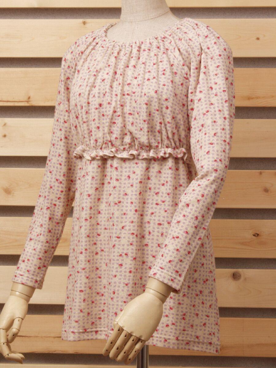 優先配送 赤ちゃんもママもだぶるにっこり小花柄ハイウエストシャーリング授乳服 ◆高品質