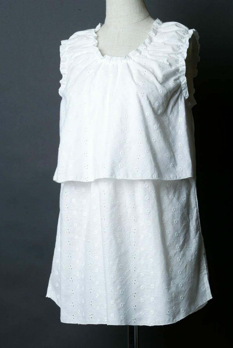 手数料無料 訳あり品送料無料 日本製でこの価格 ☆ふりふりメロー シャリーングがキュート コットンレース ノースリーブ授乳服