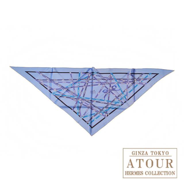 HERMES エルメス 三角スカーフ リボン柄 ブルー