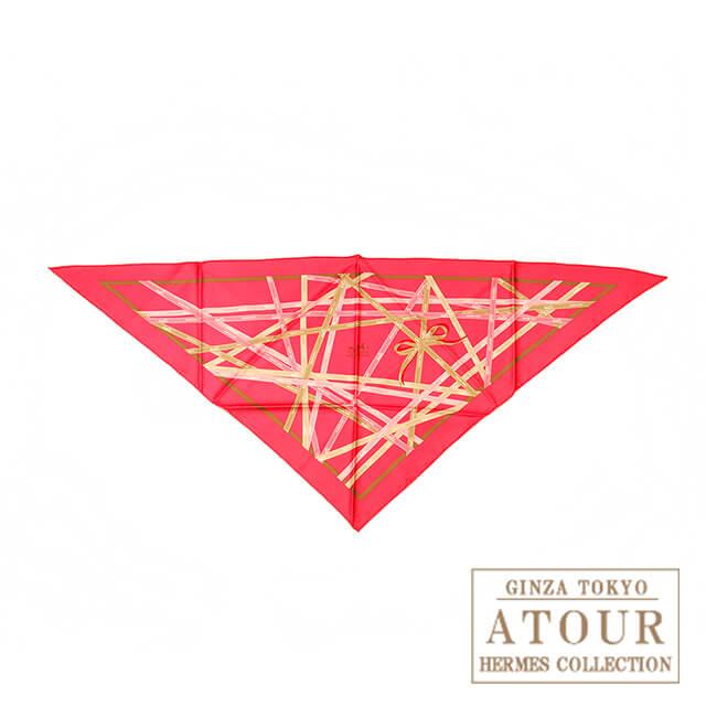 HERMES エルメス 三角スカーフ リボン柄 ピンク