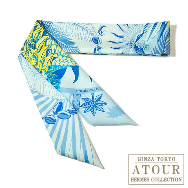 HERMES エルメス トゥイリースカーフ 不死鳥の神話 シロ×ブルー×ジョーヌ:アトゥール銀座