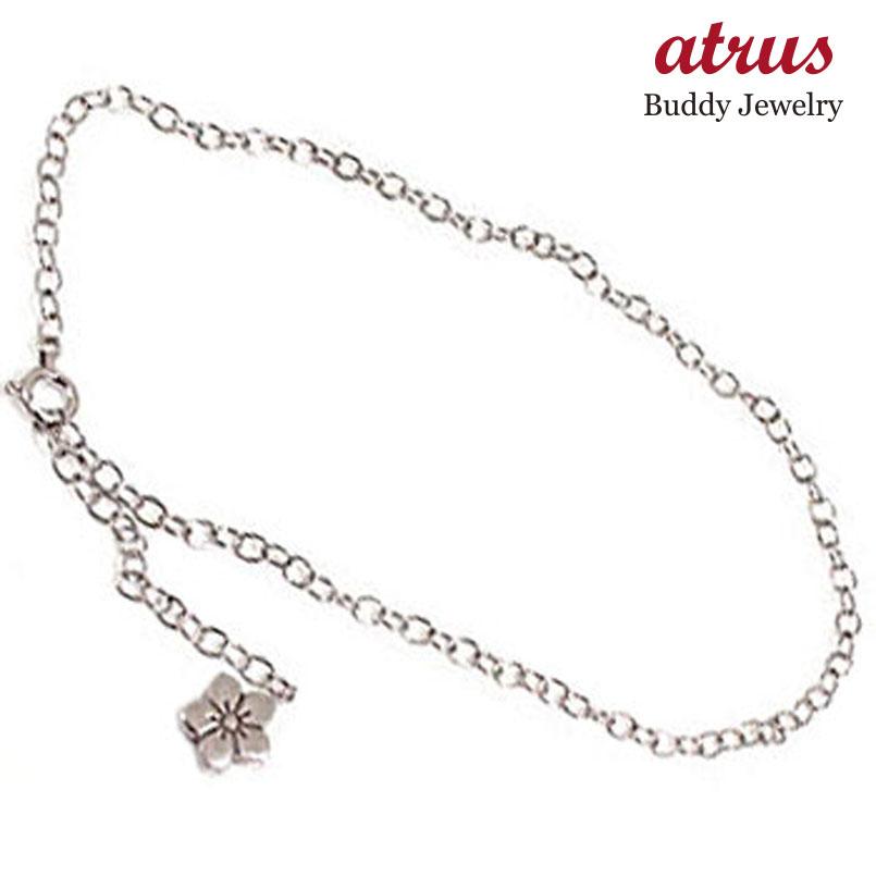 プラチナ アンクレット フラワー 花 プラチナ850 PT850 チェーン レディース 宝石 送料無料