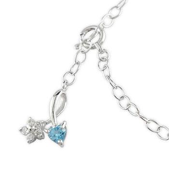 ブルートパーズ ダイヤモンド アンクレット ハート フラワー ホワイトゴールドk18 18金 チェーン レディース ダイヤ 宝石 送料無料