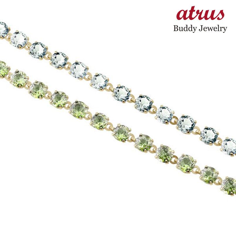 フルエタニティ 2連アンクレット アクアマリンペリドット 8月の誕生石 イエローゴールドk18 カラーストーン K18 オリジナル 3月誕生石 レディース 18金 宝石