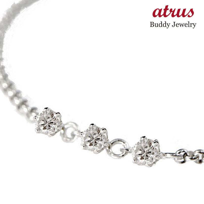 ダイヤモンド アンクレット トリロジー プラチナ チェーン レディース ダイヤ 宝石 送料無料