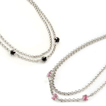 ペアアンクレット ピンクトルマリン ブラックダイヤモンド ダイヤ スリーストーン ホワイトゴールドK18 18金 チェーン レディース カップル 宝石 送料無料
