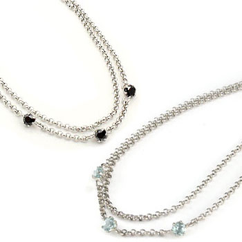 ペアアンクレット アクアマリン ブラックダイヤモンド スリーストーン プラチナ 3月誕生石 チェーン レディース ダイヤ カップル 宝石 送料無料