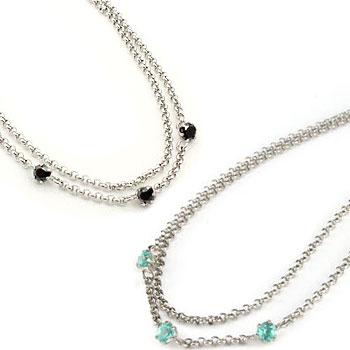 ペアアンクレット ブルートパーズ ブラックダイヤモンド ダイヤ スリーストーン プラチナ チェーン レディース カップル 宝石 送料無料