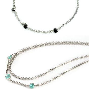 ペアアンクレット ブルートパーズ ブラックダイヤモンド スリーストーン プラチナ チェーン レディース ダイヤ カップル 宝石 送料無料