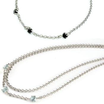 ペアアンクレット アクアマリン ブラックダイヤモンド スリーストーン ホワイトゴールドK18 3月誕生石 18金 チェーン レディース ダイヤ カップル 宝石 送料無料