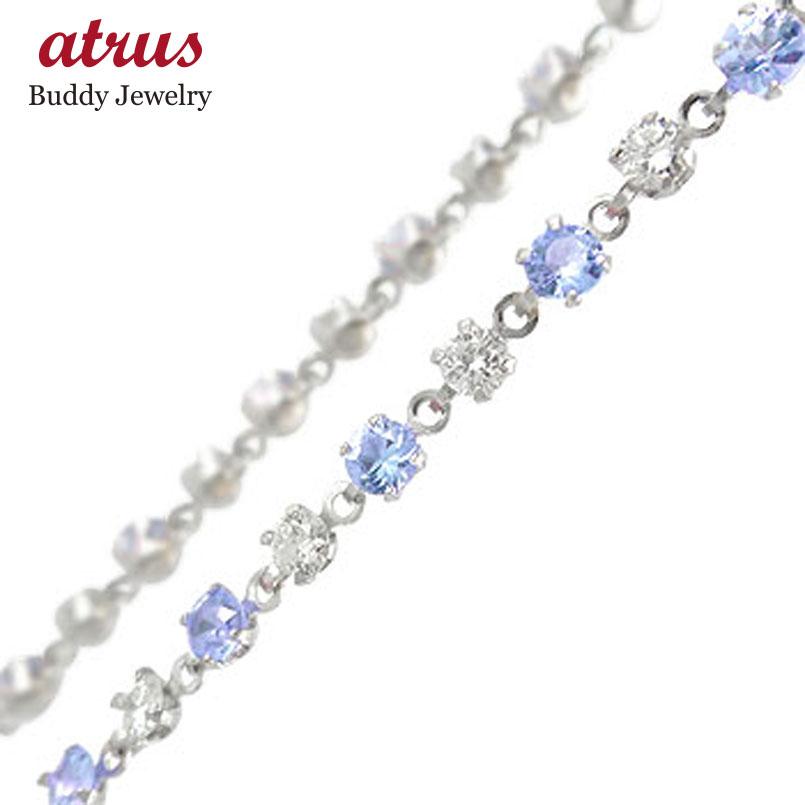 フルエタニティ プラチナ アンクレット タンザナイト ダイヤモンド レディース ダイヤ 宝石 送料無料