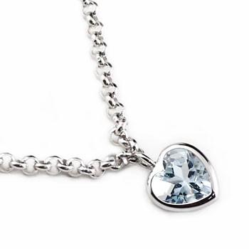 アンクレット アクアマリン ホワイトゴールドK18 ハート 3月の誕生石 18金 チェーン レディース 宝石 送料無料