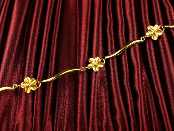 ハワイアンジュエリー アンクレット ハワイアン ダイヤモンド 花 イエローゴールドk18 18金 ダイヤ 人気 送料無料