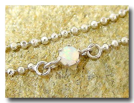 オパール 2連 アンクレット ホワイトゴールドk18 10月誕生石 18金 チェーン レディース 宝石 送料無料