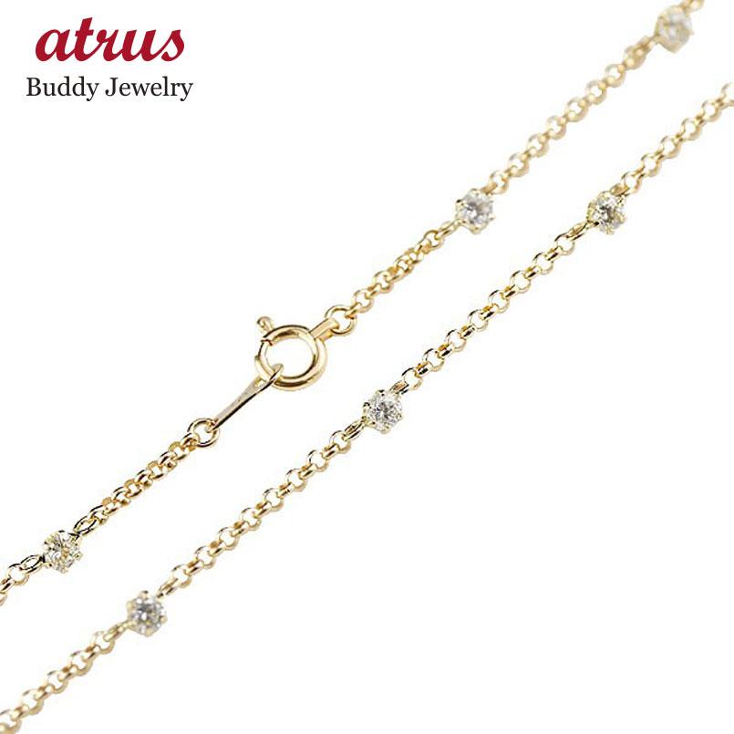 ダイヤモンド アンクレット イエローゴールドk18 フルエタニティ レディース ダイヤ 18金 宝石 送料無料