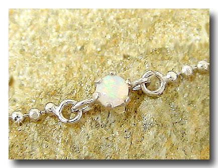 オパール アンクレット ホワイトゴールドk18 18金 チェーン レディース 宝石 送料無料