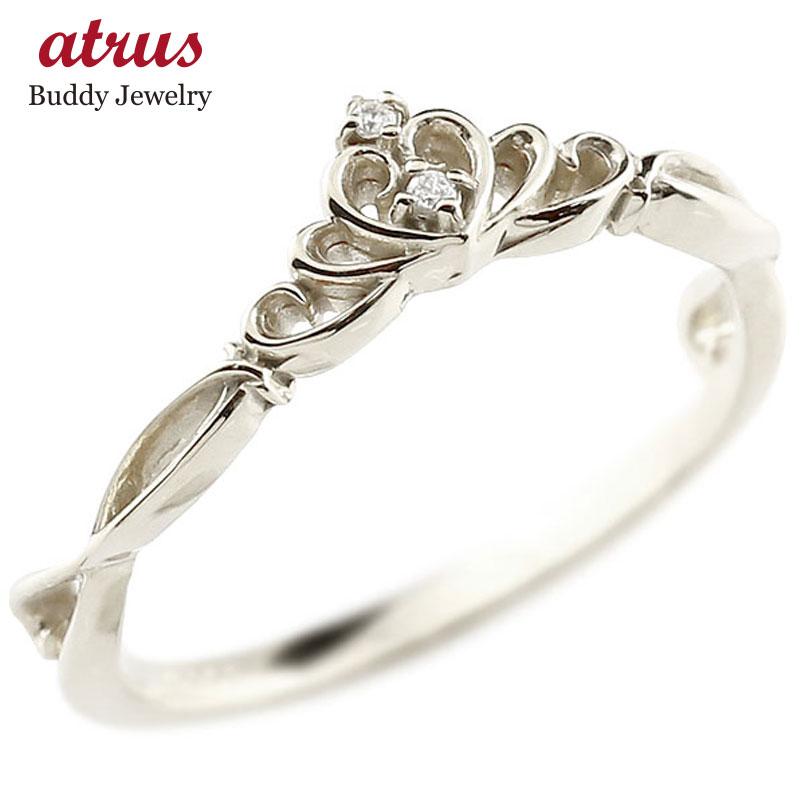 ピンキーリング ティアラ ホワイトゴールドk10リング ダイヤモンド シンプル 指輪 華奢リング 重ね付け 指輪 細め 細身 k10 アンティーク レディース 贈り物 誕生日プレゼント ギフト ファッション お返し 妻 嫁 奥さん 女性 彼女 娘 母 祖母 パートナー 送料無料