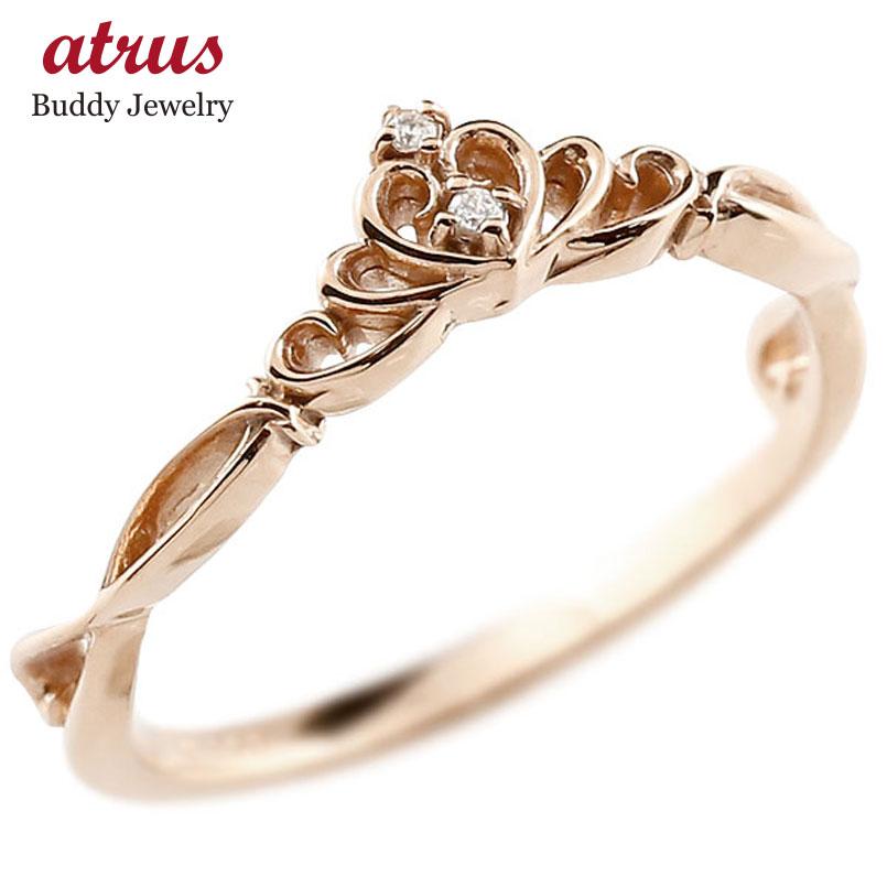 ピンキーリング ティアラ ピンクゴールドk10リング ダイヤモンド シンプル 指輪 華奢リング 重ね付け 指輪 細め 細身 k10 アンティーク レディース 贈り物 誕生日プレゼント ギフト ファッション お返し 妻 嫁 奥さん 女性 彼女 娘 母 祖母 パートナー 送料無料