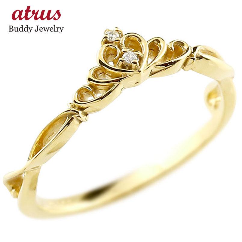 ピンキーリング ティアラ イエローゴールドk10リング ダイヤモンド シンプル 指輪 華奢リング 重ね付け 指輪 細め 細身 k10 アンティーク レディース 贈り物 誕生日プレゼント ギフト ファッション お返し 妻 嫁 奥さん 女性 彼女 娘 母 祖母 パートナー 送料無料