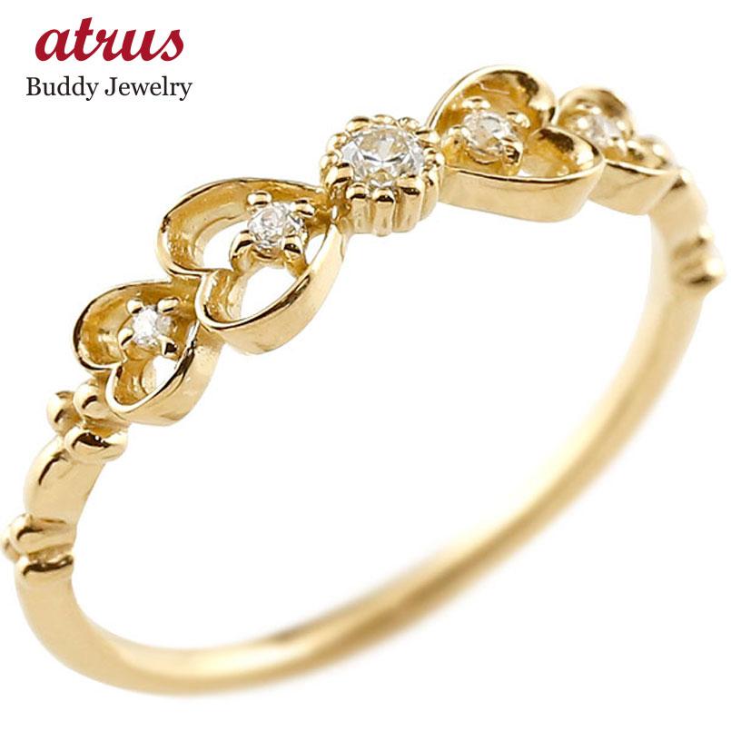 ピンキーリング りぼん リボン イエローゴールドk10リング ダイヤモンド シンプル 指輪 華奢リング 重ね付け 指輪 細め 細身 k10 アンティーク レディース ring 贈り物 誕生日プレゼント ギフト ファッション 妻 嫁 奥さん 女性 彼女 娘 母 祖母 パートナー 送料無料