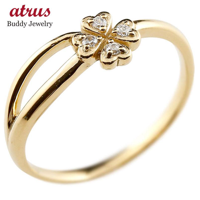 ピンキーリング クローバー イエローゴールドk10リング ダイヤモンド シンプル 指輪 華奢リング 重ね付け 指輪 細め 細身 k10 アンティーク レディース 贈り物 誕生日プレゼント ギフト ファッション お返し 妻 嫁 奥さん 女性 彼女 娘 母 祖母 パートナー 送料無料