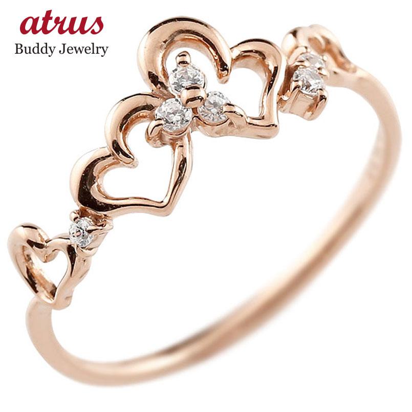 ピンキーリング ハート ピンクゴールドk10リング ダイヤモンド シンプル 指輪 華奢リング 重ね付け 指輪 細め 細身 k10 アンティーク レディース 贈り物 誕生日プレゼント ギフト ファッション お返し 妻 嫁 奥さん 女性 彼女 娘 母 祖母 パートナー 送料無料