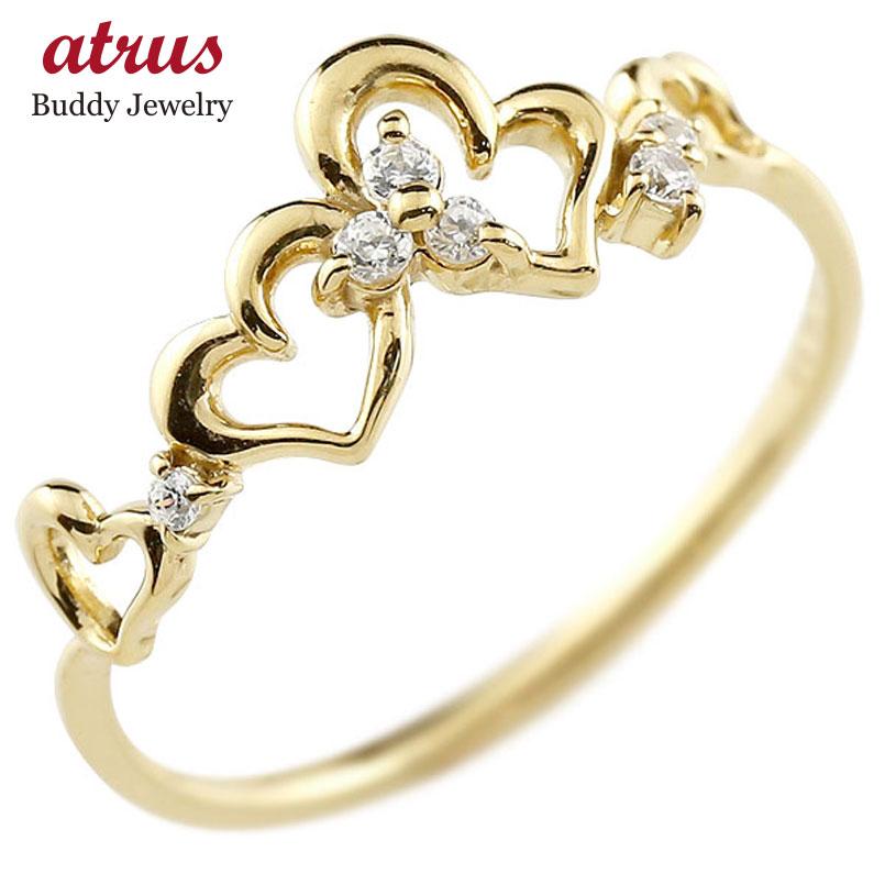 ピンキーリング ハート イエローゴールドk10リング ダイヤモンド シンプル 指輪 華奢リング 重ね付け 指輪 細め 細身 k10 アンティーク レディース 贈り物 誕生日プレゼント ギフト ファッション お返し 妻 嫁 奥さん 女性 彼女 娘 母 祖母 パートナー 送料無料