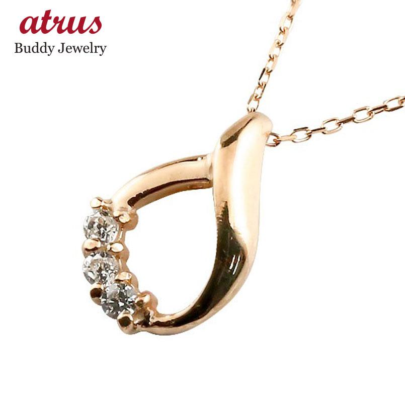 【送料無料】ダイヤモンド ネックレス ダイヤモンド ピンクゴールドk10 ペンダント ドロップ型 チェーン 人気 4月誕生石 10金 贈り物 誕生日プレゼント ギフト ファッション