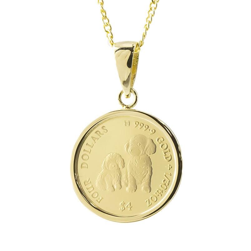 24金 ネックレス コイン 純金 犬 トイプードル 2020年 純金貨 エリザベス女王 イギリス イエローゴールドk18 1/30オンス リバーシブル ケース付