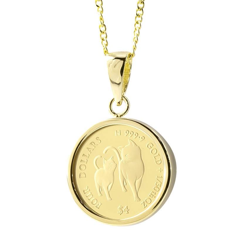 24金 ネックレス コイン 純金 2020年限定 ネコ 純金貨 エリザベス女王 イギリス イエローゴールドk18 1/30オンス リバーシブル ケース付 レディース