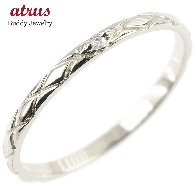ピンキーリング ダイヤモンド 一粒 ホワイトゴールドk18 極細 18金 華奢 アンティーク ストレート 指輪 送料無料