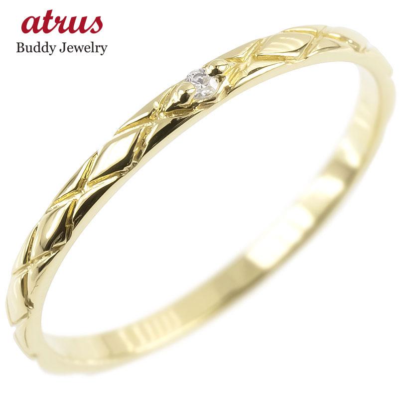 ピンキーリング ダイヤモンド 一粒 イエローゴールドk10 極細 10金 華奢 アンティーク ストレート 指輪 送料無料