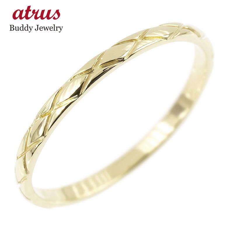 ピンキーリング イエローゴールドk10 極細 10金 華奢 アンティーク ストレート 指輪 送料無料