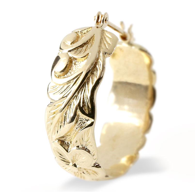 【あす楽】ゴールド ハワイアンジュエリー フープピアス 片耳 レディース K10 10金 イエローゴールドk10 地金 プルメリア リング 人気 女性 送料無料