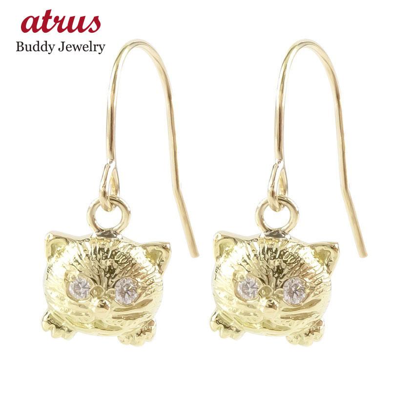 【あす楽】18金 フックピアス ダイヤモンド 猫 レディース ゴールド 18K イエローゴールドk18 揺れる ピアス 女性 人気 ゆれる ねこ ネコ 送料無料