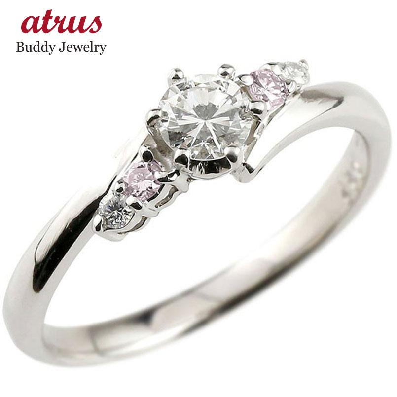 婚約指輪 プラチナ ダイヤモンド エンゲージリング リング 一粒 大粒 ダイヤ ピンクダイヤモンド ストレート あすつく 送料無料