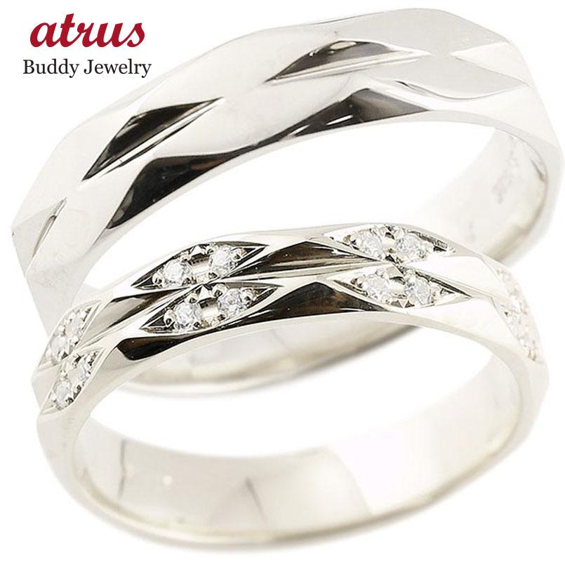 ペアリング ダイヤモンド プラチナ 結婚指輪 マリッジリング カットリング 菱形 pt900 宝石 送料無料