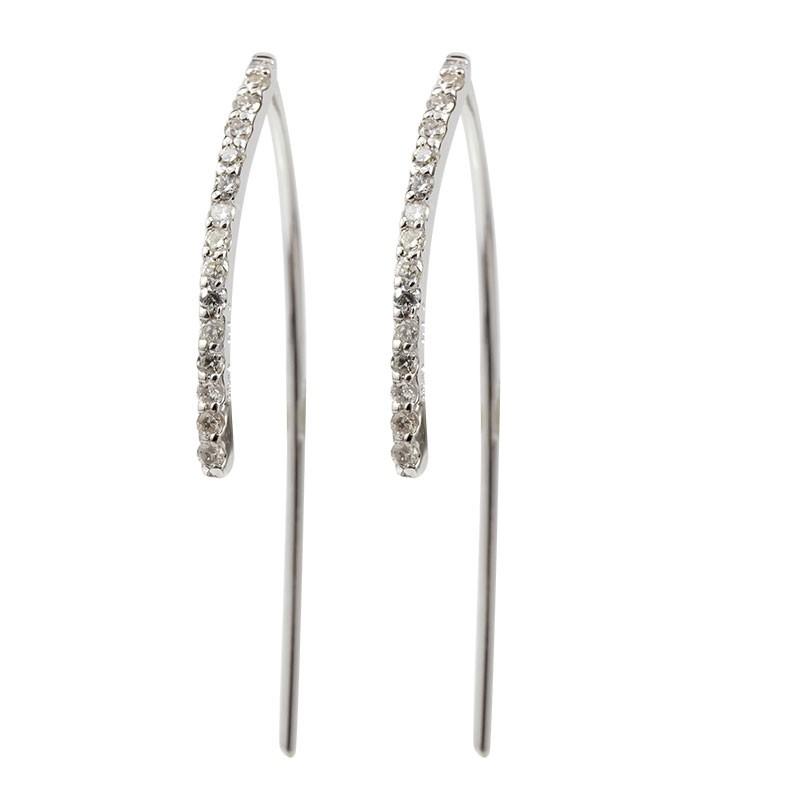 レディース ダイヤモンドピアス ホワイトゴールドk18 ライン 線 フックピアス 18金 宝石 ダイヤ シンプル あすつく 送料無料