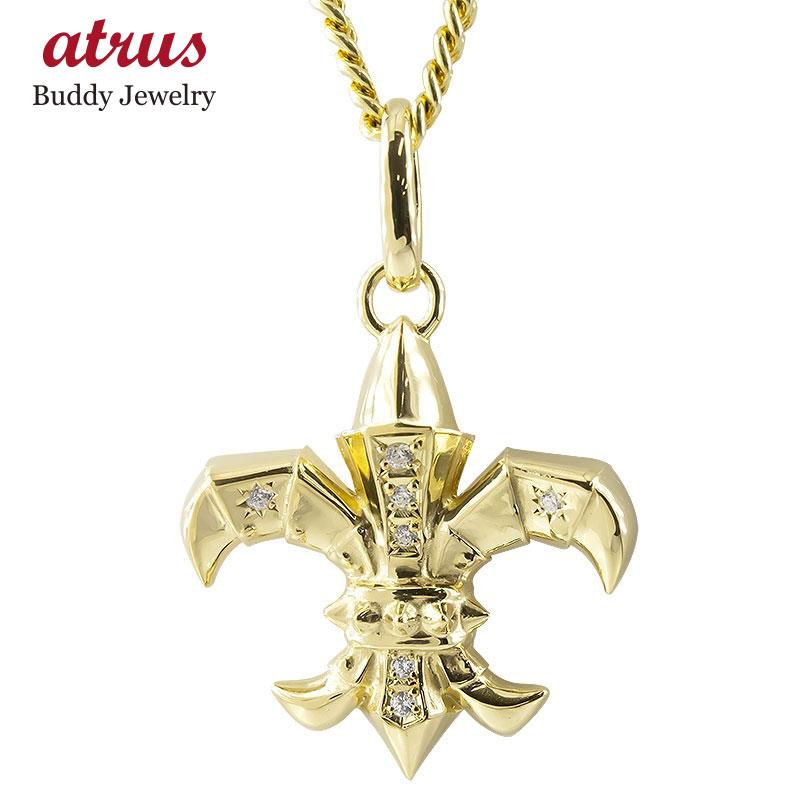 18金 ネックレス メンズ トップ 喜平用 ダイヤモンド ユリの紋章 ペンダントトップ ゴールド 18K イエローゴールドk18 西洋 鎧 騎士 チェーン キヘイ 送料無料 父の日