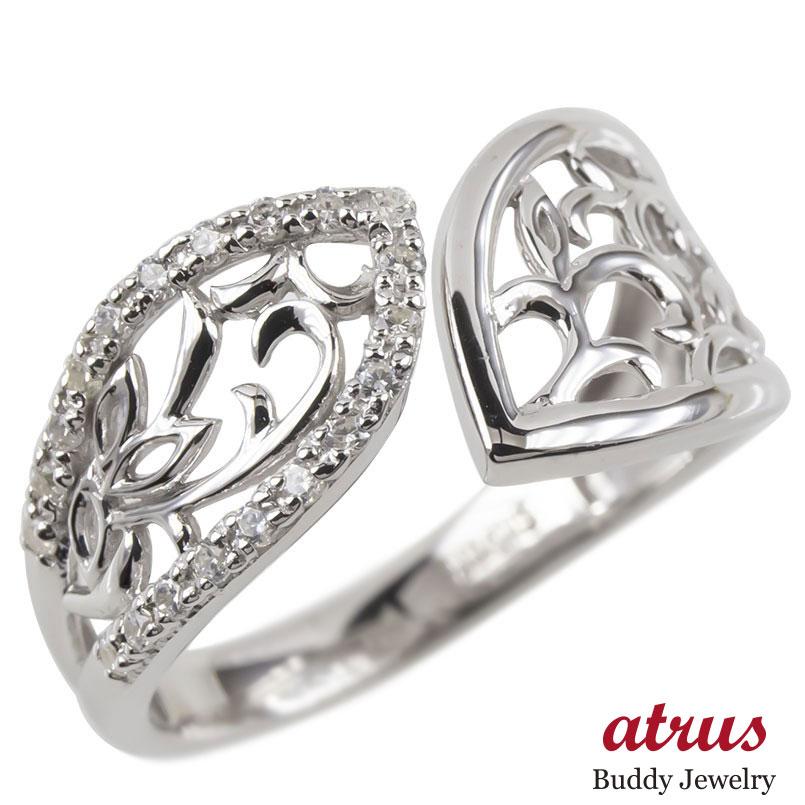 リング レディース フリーサイズ 指輪 キュービックジルコニア シルバー sv925 幅広 透かし婚約指輪 安い ピンキーリング ボタニカル 女性 あすつく 送料無料