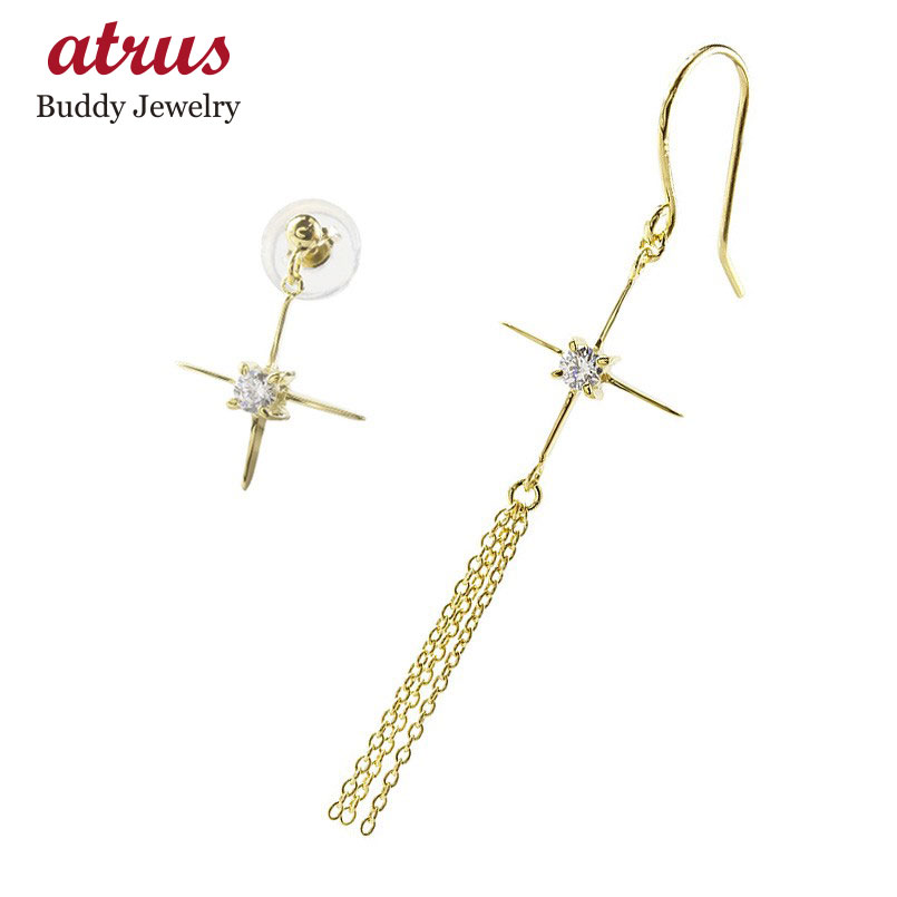 アシンメトリーピアス 18金 ピアス レディース クロス キュービックジルコニア イエローゴールドk18 シンプル 女性 十字架 華奢 スタッドピアス フックピアス