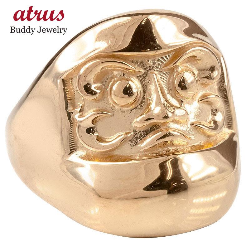 ゴールド リング だるま メンズ 幅広 指輪 10K ピンクゴールドk10 地金 ピンキーリング ダルマ 達磨 お守り アミュレット 男性 送料無料