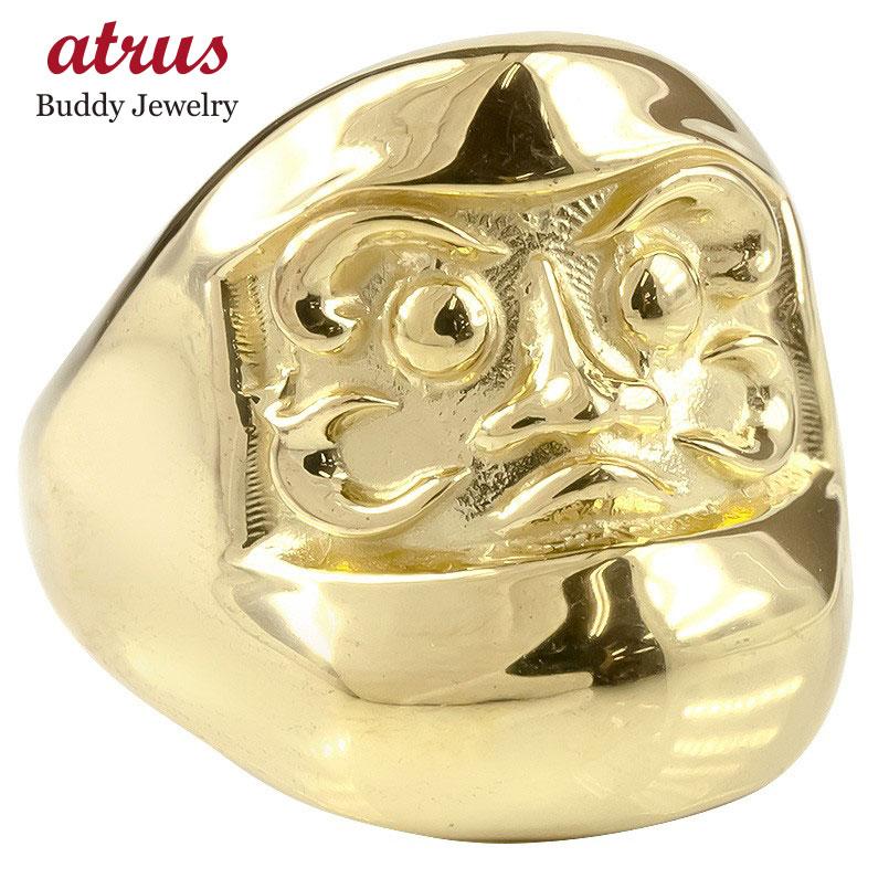 ゴールド リング だるま メンズ 幅広 指輪 10K イエローゴールドk10 地金 ピンキーリング ダルマ 達磨 お守り アミュレット 男性 送料無料 父の日