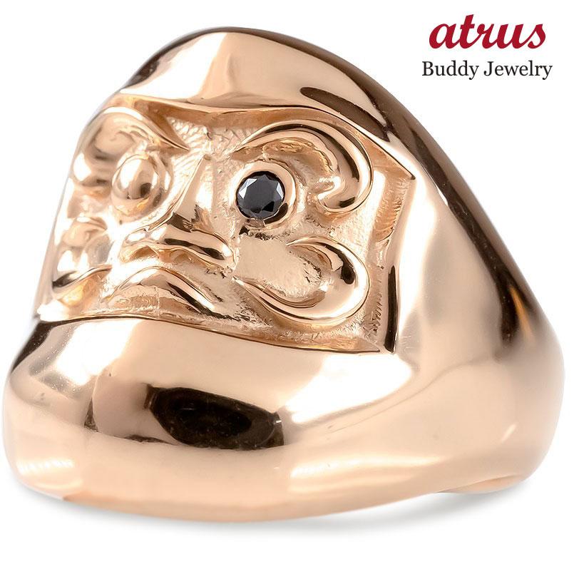 18金 リング ブラックダイヤモンド だるま メンズ 幅広 指輪 ピンクゴールドk18 ピンキーリング ブラックダイヤ ダルマ 達磨 お守り アミュレット 送料無料