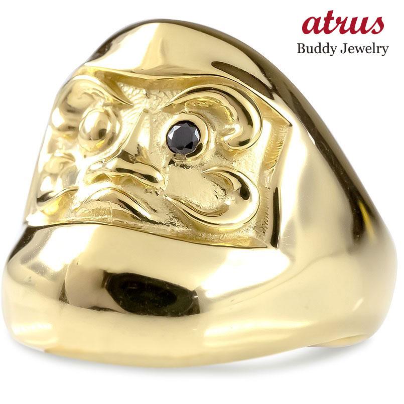 ゴールド リング ブラックダイヤモンド だるま メンズ 幅広 指輪 イエローゴールドk10 ピンキーリング ブラックダイヤ ダルマ お守り アミュレット 送料無料