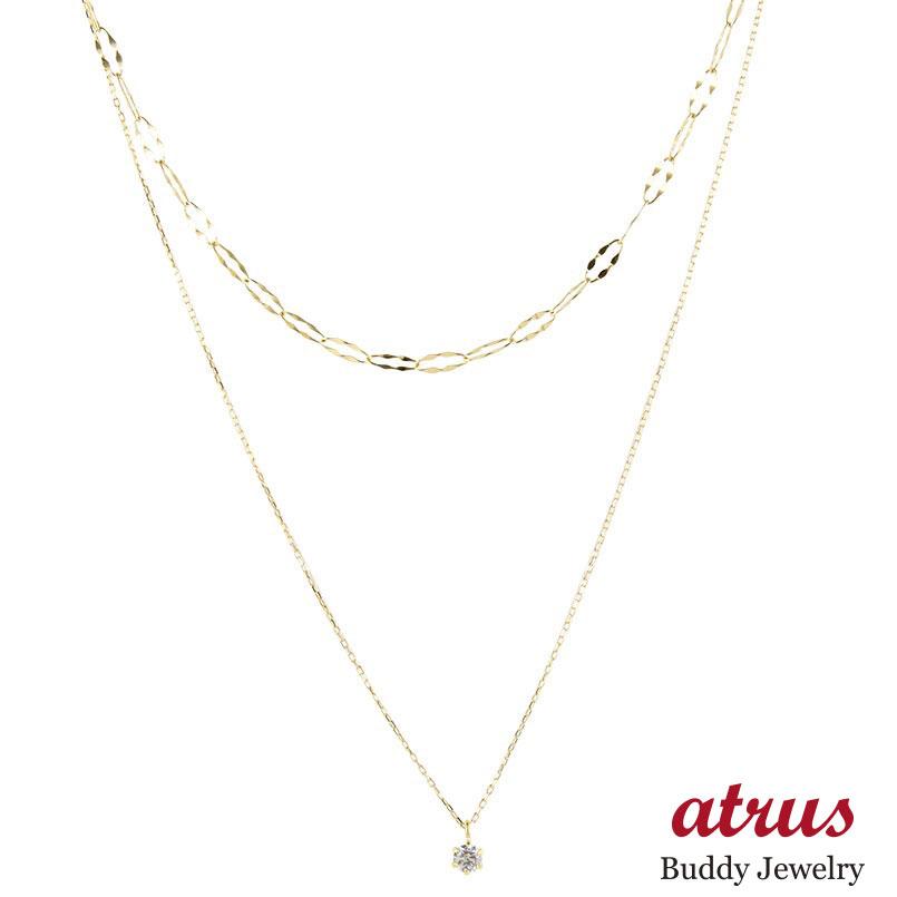 18金 ネックレス チェーン 2連 ダイヤモンド レディース イエローゴールドk18 グリームカットチェーン スパークルチェーン アジャスター ハート 女性 送料無料 母の日